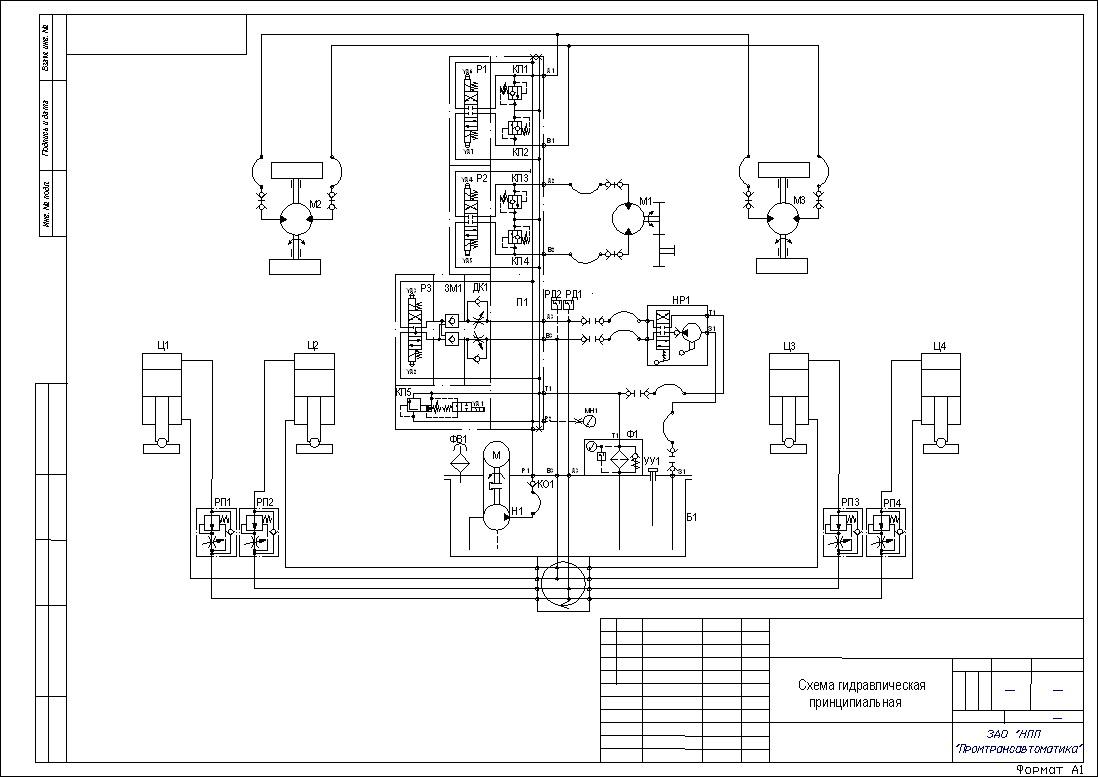 В качестве примера приводится гидравлическая схема технологической тележки для ремонта двигателей эскалаторов.